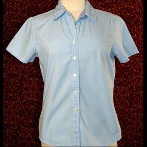 TOMMY HILFIGER blue check cotton blouse 10